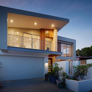 パースのコンテンポラリースタイルのおしゃれな家の外観 (コンクリート繊維板サイディング、グレーの外壁) の写真