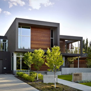 Inspiration for a modern wood exterior home remodel in Edmonton