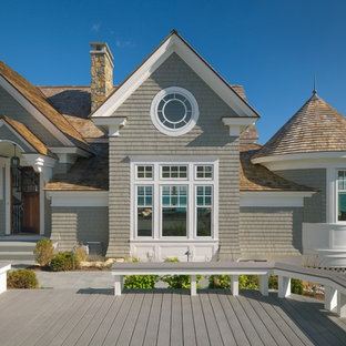 Inspiration for a large victorian gray two-story wood gable roof remodel in Boston with a shingle roof