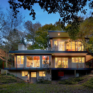 Inspiration for a contemporary two-story exterior home remodel in Philadelphia