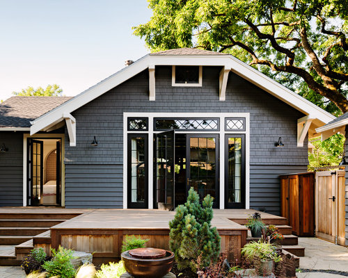 Arts And Crafts Gray One Story Exterior Home Photo In Portland With A  Clipped Gable