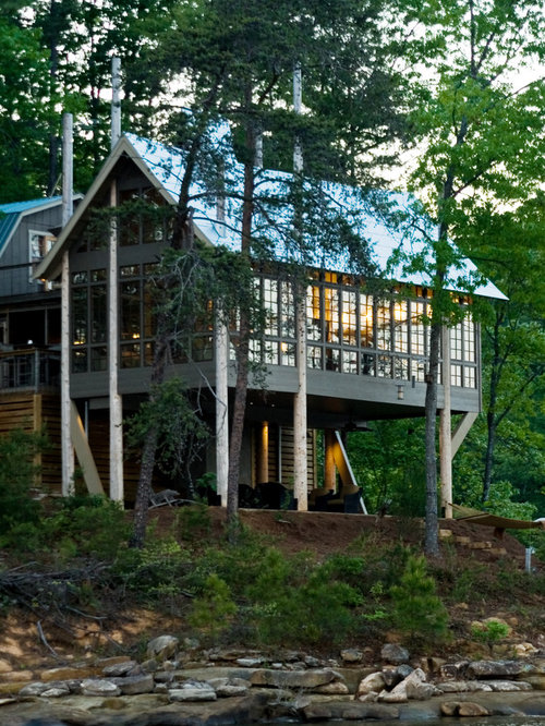 mountain style glass exterior home photo in other