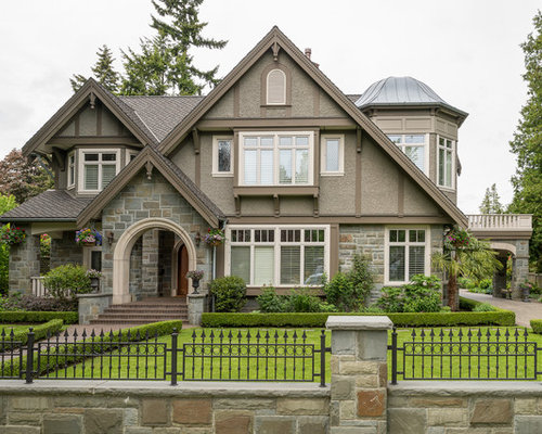 large traditional brown two story mixed siding gable roof idea in vancouver - Stucco Exterior Paint Ideas