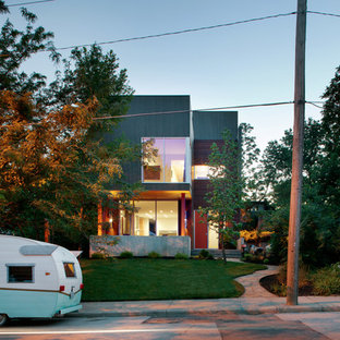 Minimalist wood exterior home photo in Kansas City