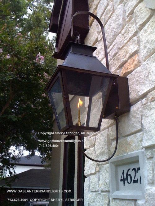 Outdoor gas lights houzz trendy exterior home photo in houston workwithnaturefo