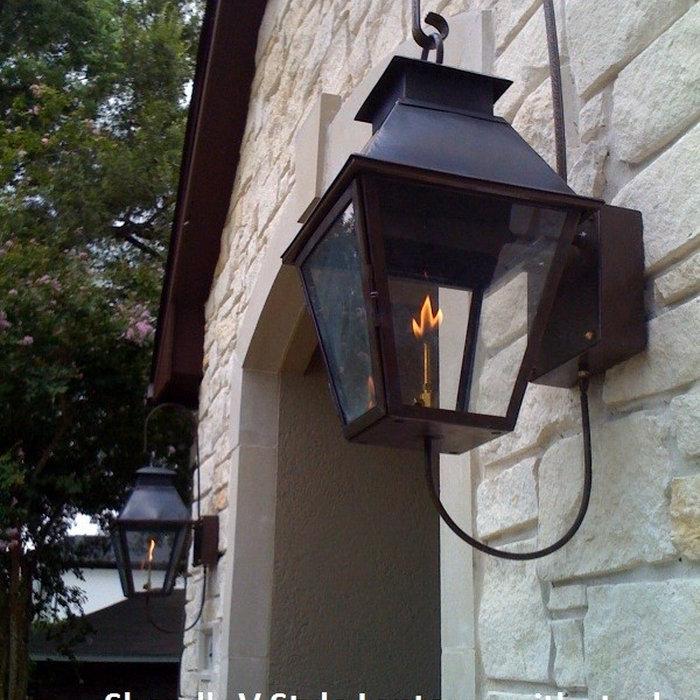 Sheryl's V Style Gas Lantern on Steel Loop Bracket