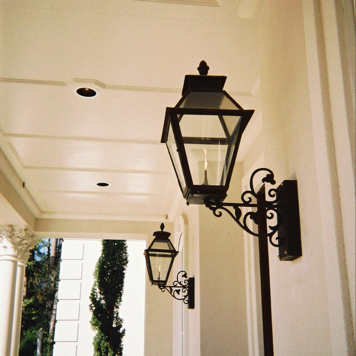 Sheryl's V Style Gas Lanterns on Extended Steel Wall Brackets