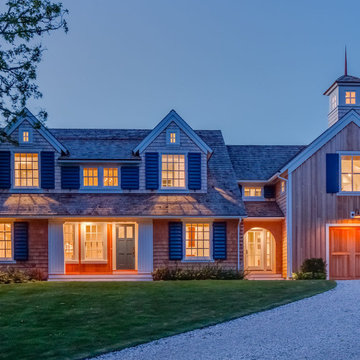 Shingle Exterior with Blue Shutters & Stone Driveway - Wychmere Rise -Custom Ho