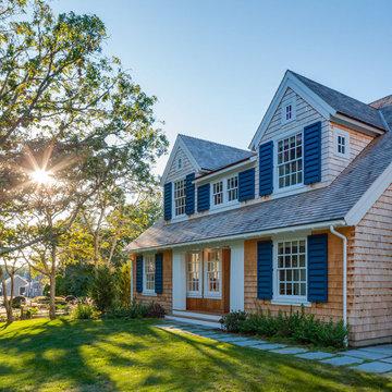 Shingle Style Home with Blue Shutters - Wychmere Rise -  Custom Home on Cape Cod