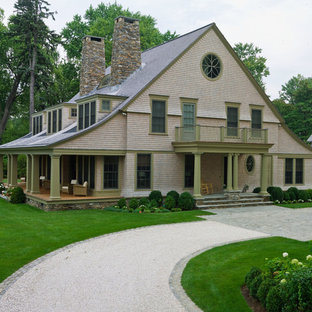 Victorian two-story wood gable roof idea in New York