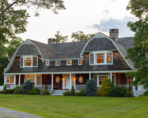 Inspiration For A Large Craftsman Brown Two Story Wood Exterior Home  Remodel In New York
