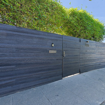 Silver Lake charred black wood fence and gates