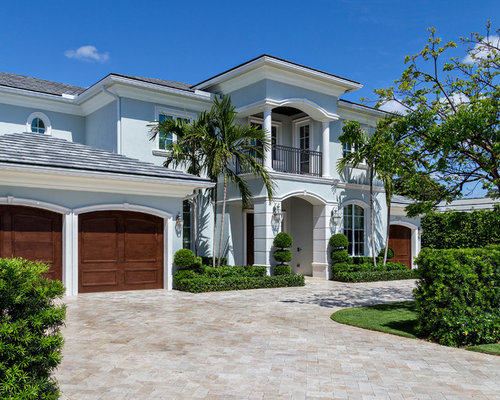 Tropical Blue Exterior Design Ideas Remodels Photos