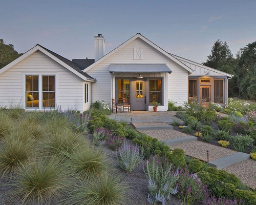 Example Of A Country White One Story Exterior Home Design In San Francisco  With A Part 80