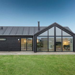 Idee per la facciata di una casa nera scandinava a un piano di medie dimensioni con rivestimenti misti e tetto a capanna