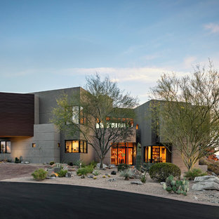 Southwestern gray two-story exterior home idea in Phoenix