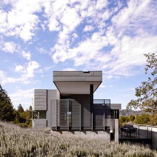 На фото: фасад дома в стиле модернизм с облицовкой из металла с