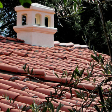 Small Spanish Cottage Fireplace Chimney in Montecito California