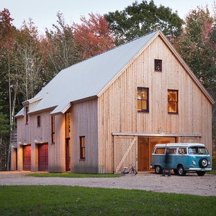 Country wood gable roof idea in Portland Maine with a metal roof