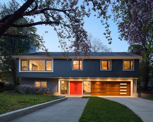 Midcentury split level exterior home design ideas for Exterior design ideas for split level house