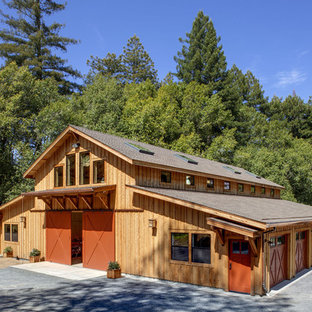 Inspiration for a contemporary wood exterior home remodel in Other