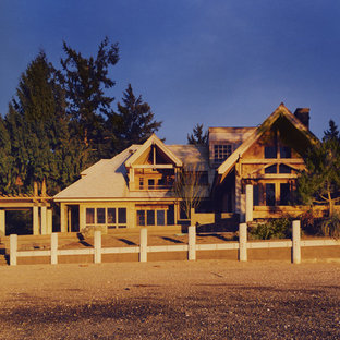 Example of a coastal exterior home design in Seattle