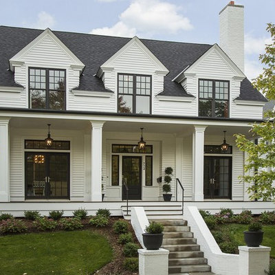 Mid-sized transitional white two-story wood gable roof idea in Minneapolis