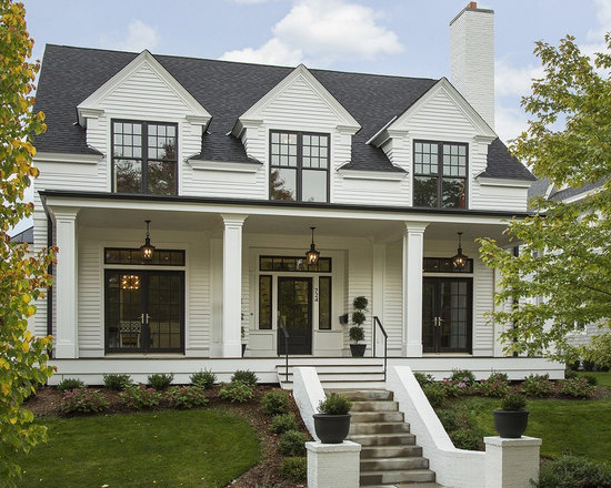 MidSized Transitional Exterior Home Design Ideas Remodels Photos