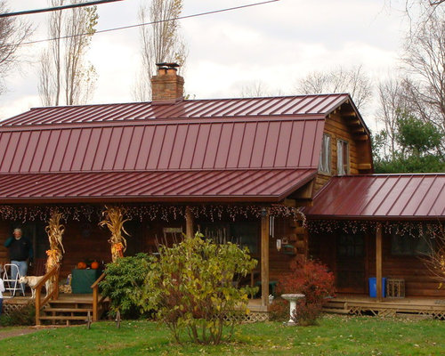 Log home metal roofing houzz Cabins with metal roofs
