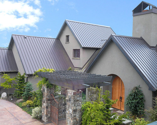 Metal roof stucco home design ideas pictures remodel and for Exterior 2 story house galvanized tin cedar stone