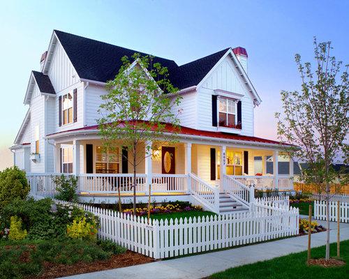 Farmhouse front porch home design ideas pictures remodel for Farmhouse exterior