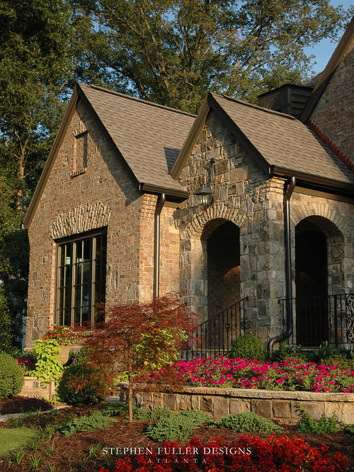 Brick stone combination houzz for Brick house exterior design