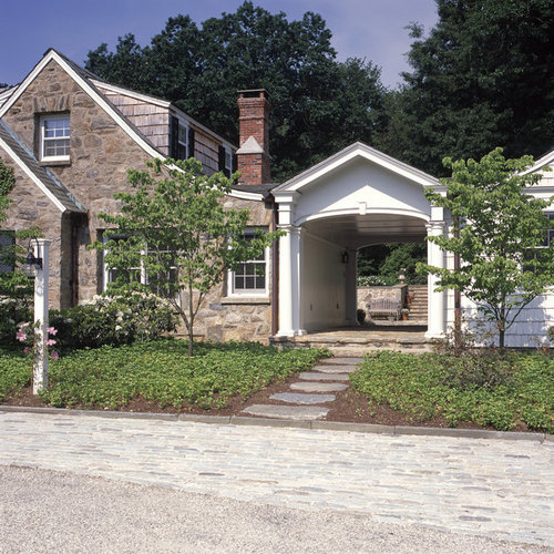 Detached carport with breezeway houzz for House plans with carport in back