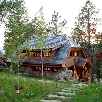Small mountain style brown one-story mixed siding house exterior photo in Denver with a shingle roof and a hip roof