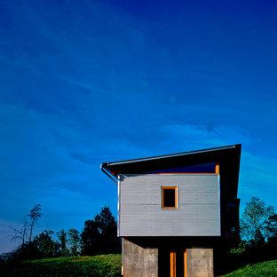 Imagen de fachada gris, moderna, pequeña, de dos plantas, con revestimiento de metal y tejado de un solo tendido