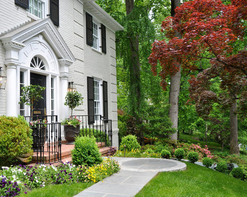 Traditional Exterior Light Gray Paint Revere Pewter