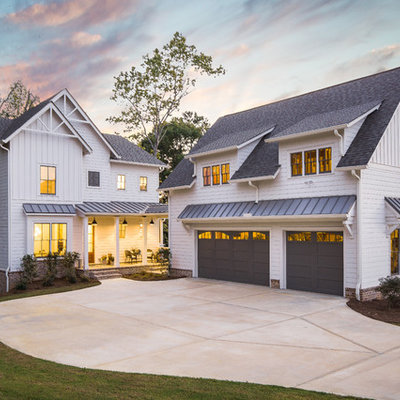Cottage white two-story concrete fiberboard exterior home idea in Atlanta with a shingle roof