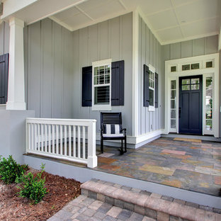 Large transitional gray two-story mixed siding exterior home idea in Jacksonville