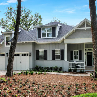 Large transitional gray two-story mixed siding exterior home photo in Jacksonville