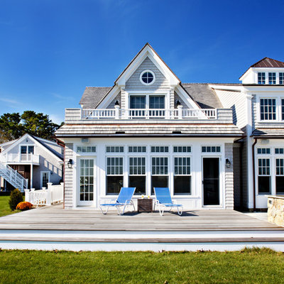 Beach style wood exterior home photo in Boston