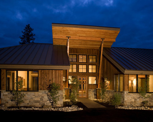 mid sized rustic one story wood exterior home idea in seattle with a shed - Contemporary Rustic Homes