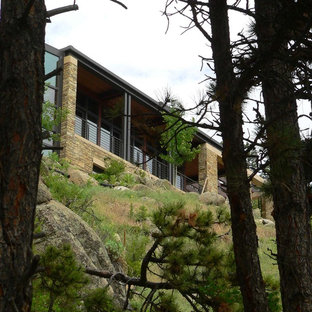 Example of a minimalist stone exterior home design in Denver