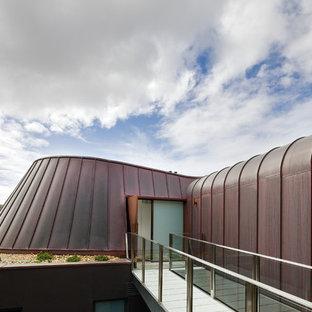 Immagine della facciata di una casa moderna con rivestimento in metallo