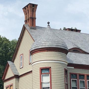 Synthetic Slate Roof; White Cedar Siding - Glastonbury, CT