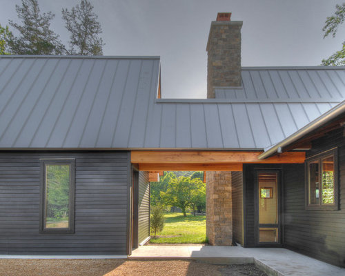Metal roofing brick home houzz for Brick house with tin roof