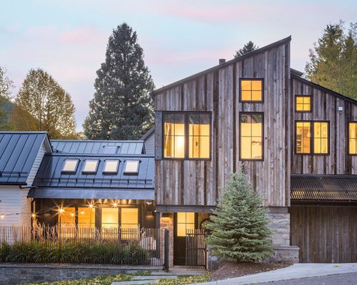 Inspiration For A Rustic Brown Two Story Wood Exterior Home Remodel In  Denver With A