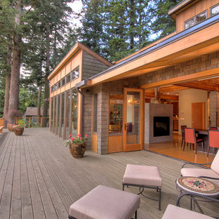 Contemporary two-story wood exterior home idea in Portland