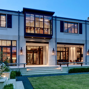 Inspiration for a contemporary two-story exterior home remodel in Dallas