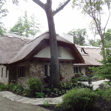 Thatched Roof Home in MA Featuring Boston Blend Round Thin Veneer Siding
