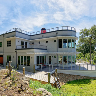 Beach style gray two-story exterior home idea in Providence